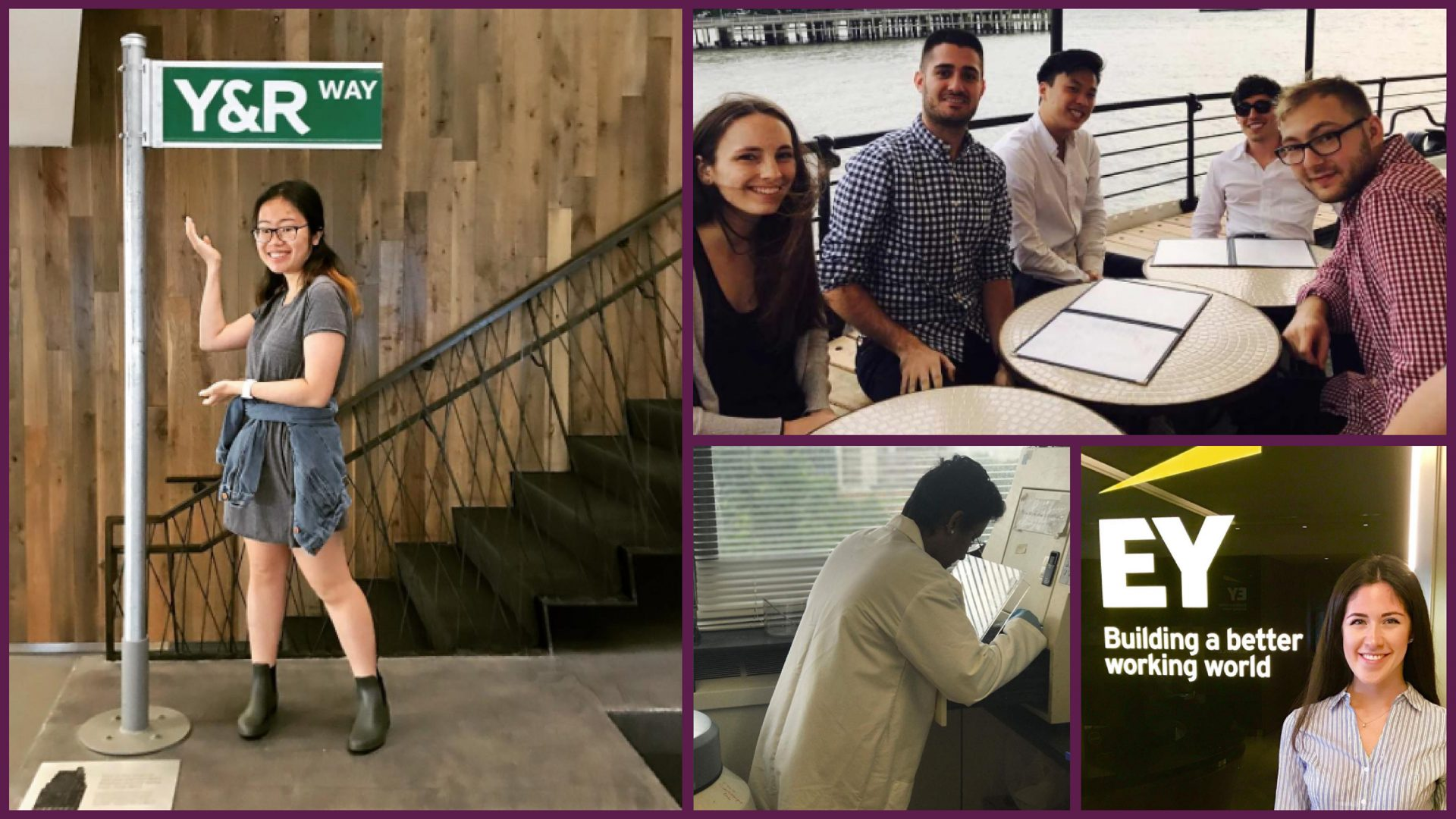 A collage of Macaulay students at their internships