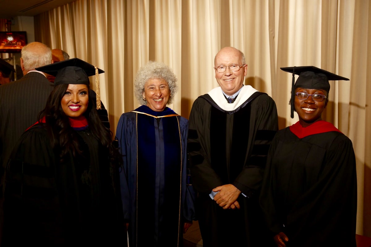 Commencement Speaker Kat Mateo with Marion Nestle, Bill Macaulay and alumnae