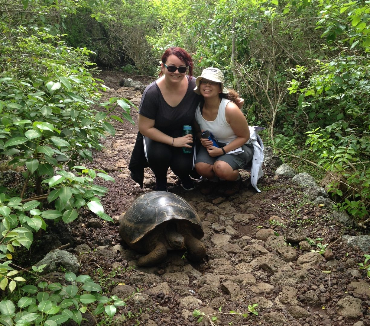 Macaulay students with tortoise in the Galapagos