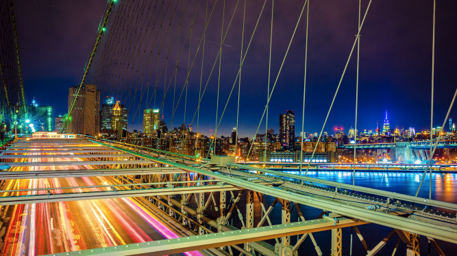 Photo of New York skyline from the Brooklyn Bridge