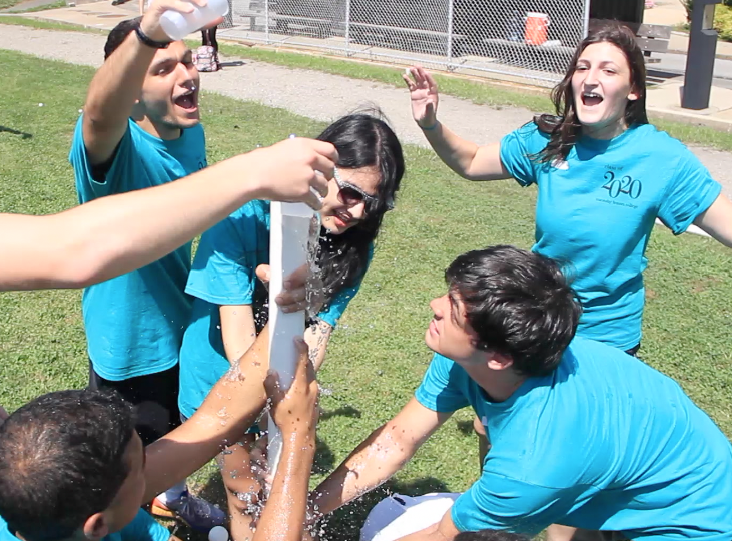 Students participating in activities at orientation