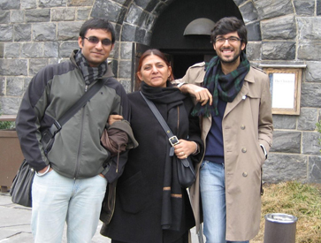 Jaskiran Mathur with her son and nephew