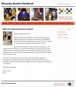 Student Handbook Website Screenshot