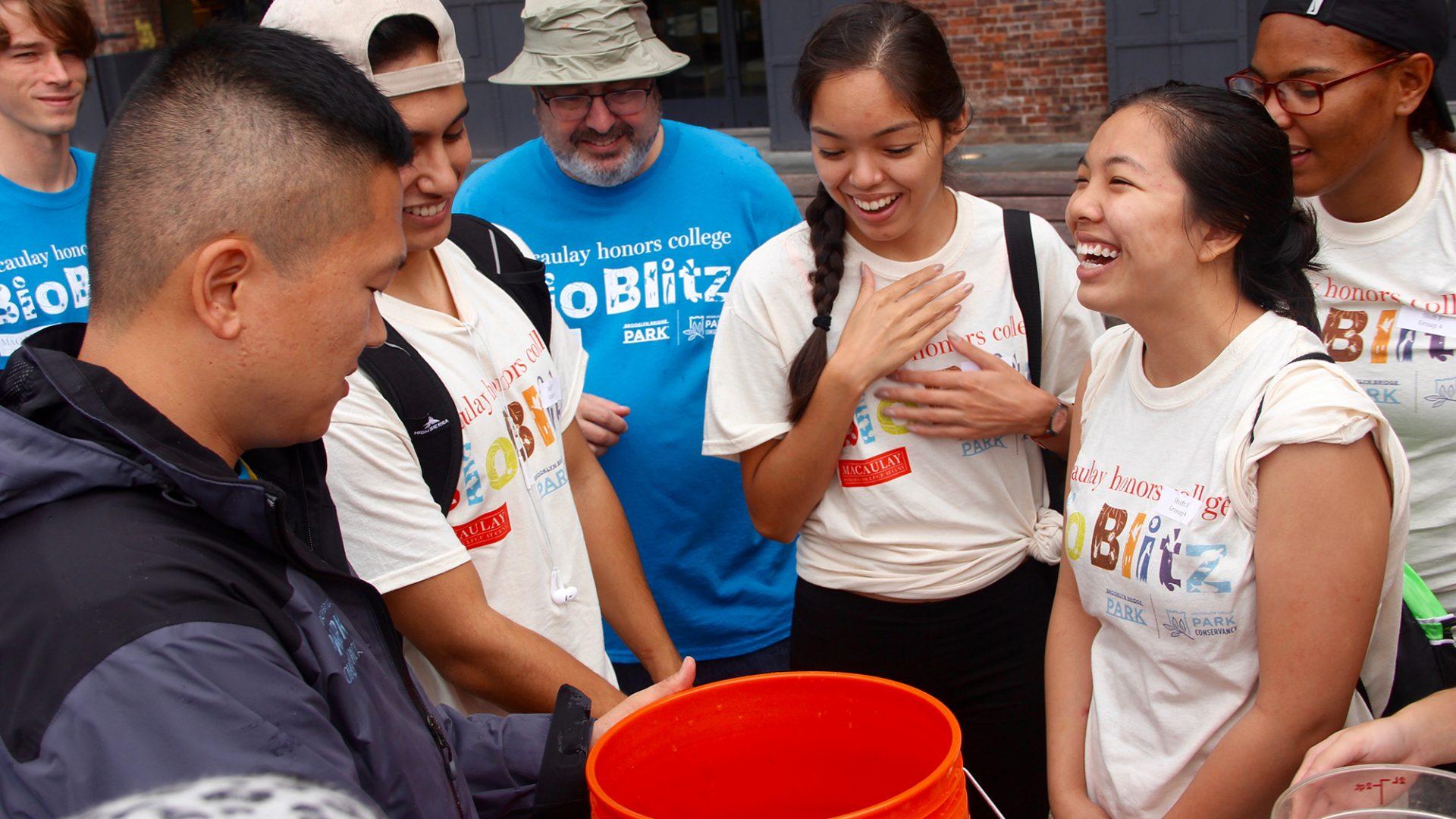 Macaulay students at the 2016 Bioblitz Brooklyn Bridge Park