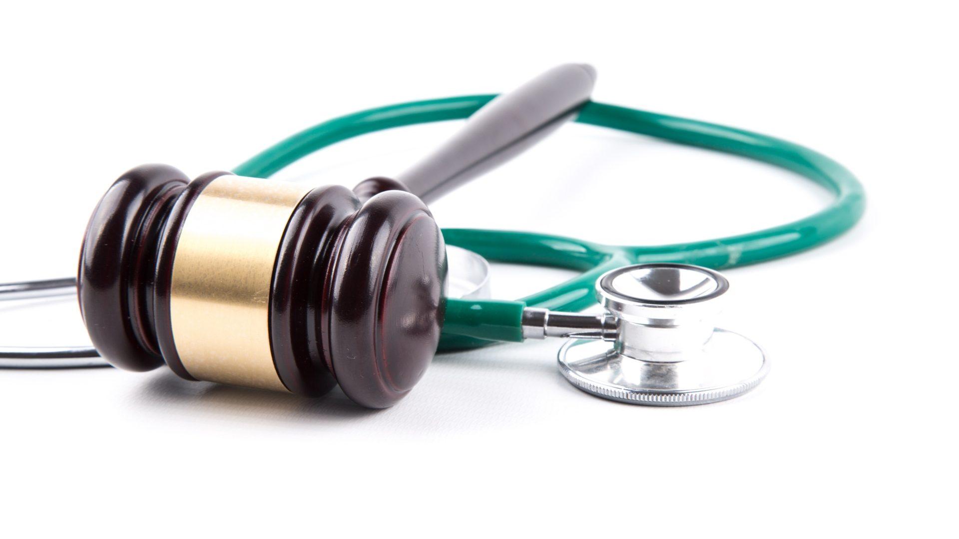 Photo of stethoscope and gavel
