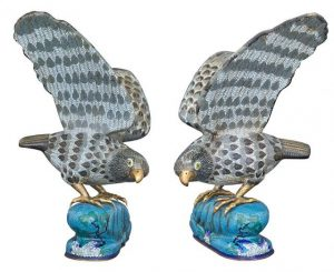 Pair of Chinese Cloisonné Enamel Hawks Doyle Auctions