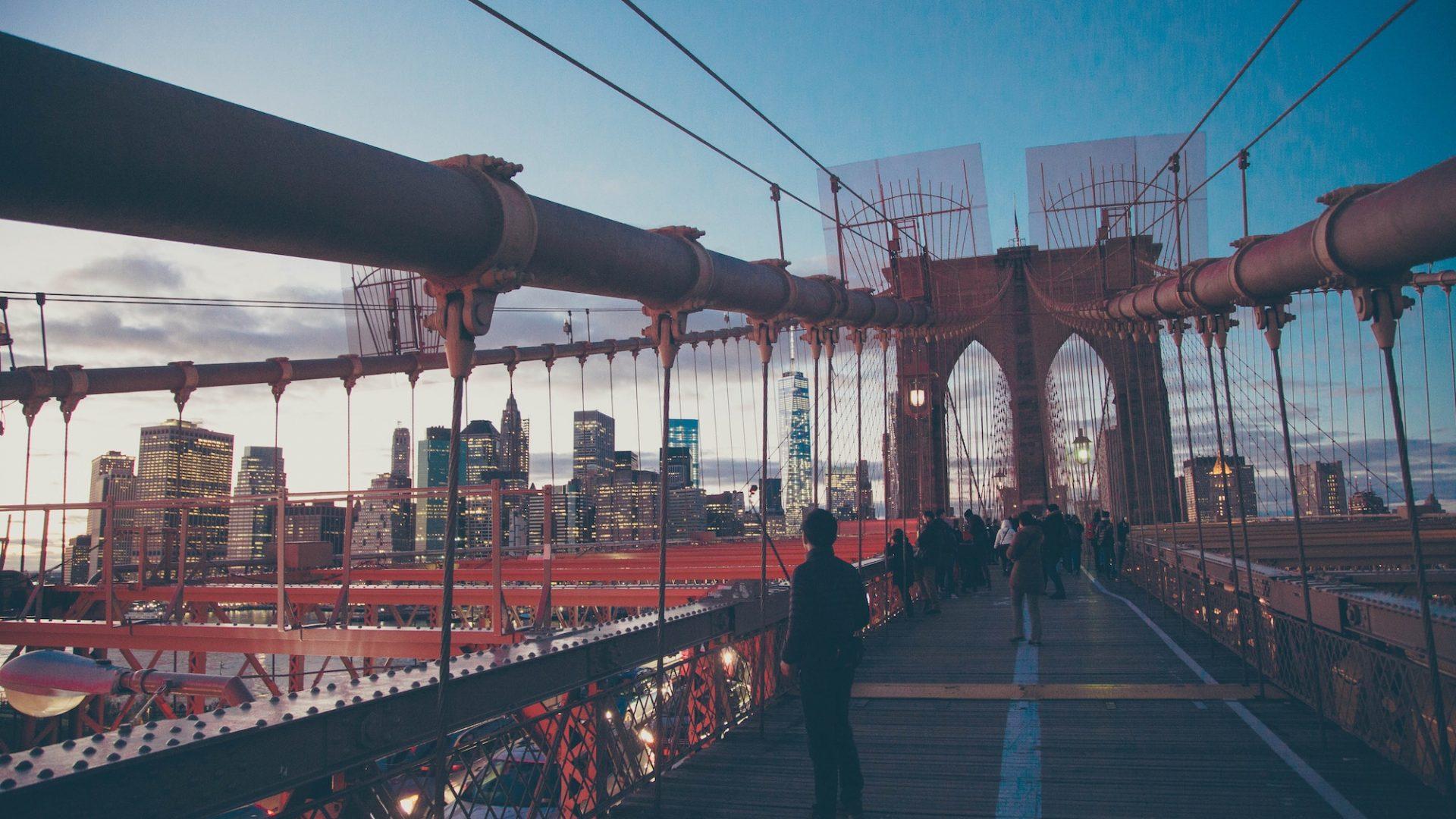 Student on Brooklyn Bridge.