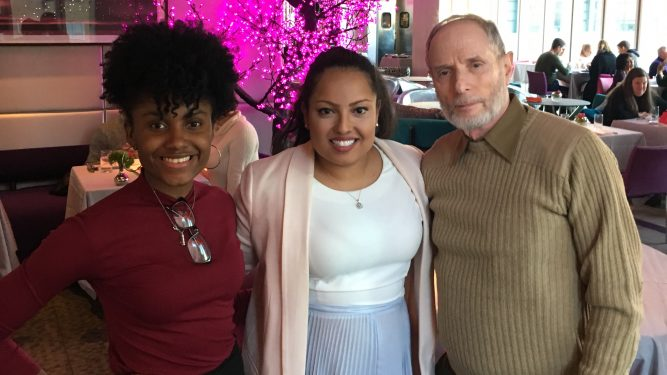 Lisa Dazzell '18, Kat Mateo '10, and Lehman College Advisor Gary Schwartz.