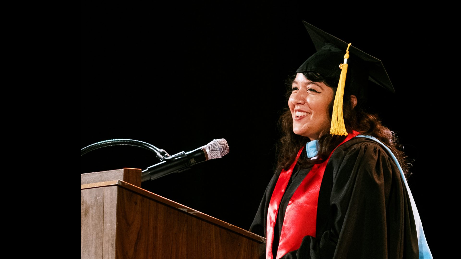 Cynthia Perez Beltethon '14 (Hunter) addresses the Class of 2019 at Commencement.