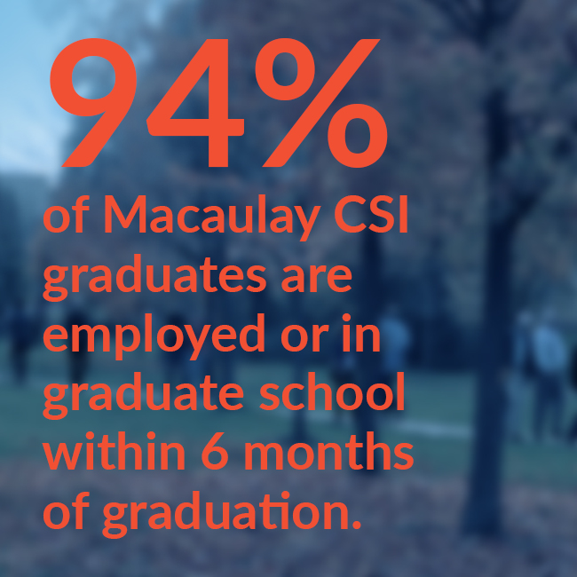 94% of Macaulay CSI graduates are employed or in graduate school within 6 months of graduation.