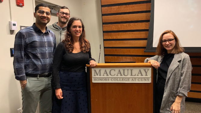 Macaulay alumni at Industry Night career development event: Karan Chachlani, Dan Allen, Stephanie Litsas and Dylan Campbell