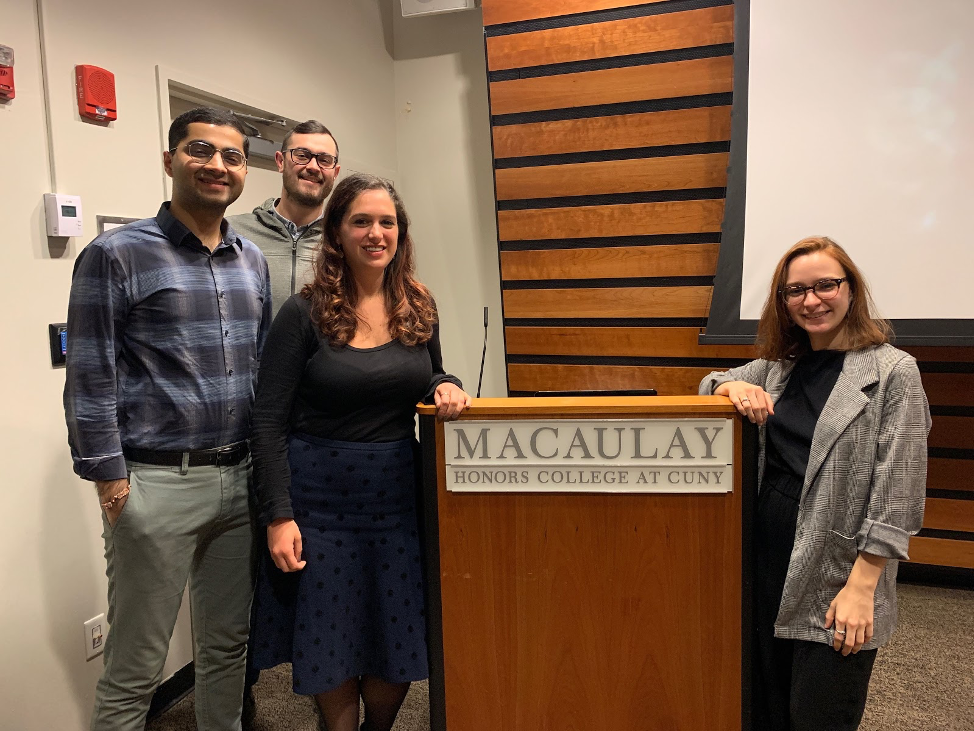 Macaulay alumni at Industry Night career development event: Karan Chachlani, Dan Allen, Stephanie Litsas and Dylan Campbell