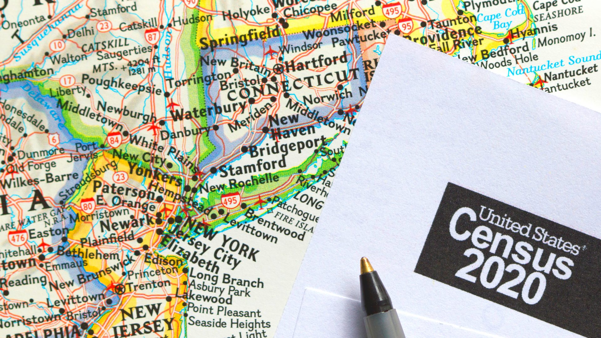 Map of New York State with census form