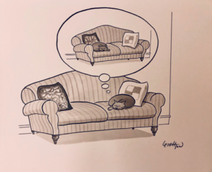 """Study for a New Yorker cartoon, """"Sleeping cat dreams of other side of couch."""""""