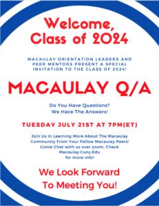 Peer Mentor's Class of 2024 Orientation Q&A