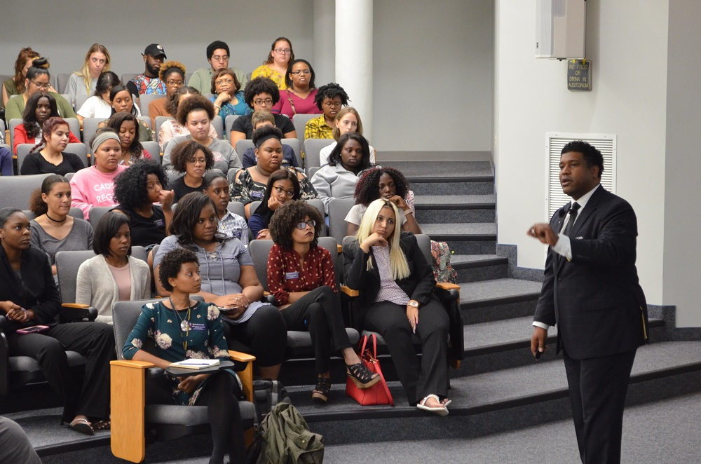 Dr. Damon Williams addressing students